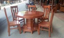 Bộ bàn ghế ăn bàn tròn gỗ xoan đào