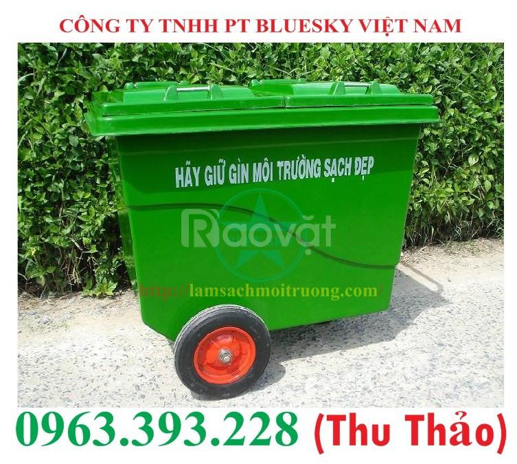 Thùng rác nhựa Composite 660 lít 3 bánh cao cấp