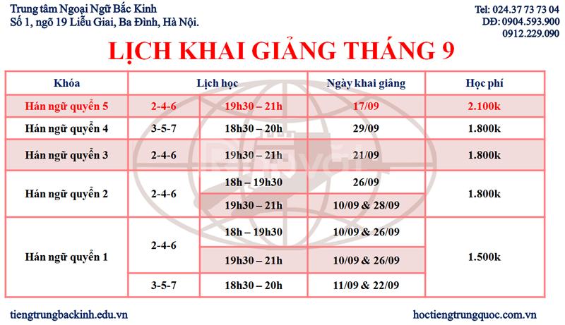Khai giảng các lớp học tiếng Trung tháng 9-2018 (ảnh 4)