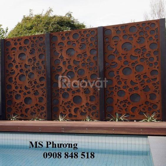 Hàng rào sắt nghệ thuật CNC hoa văn hiện đại cho hồ bơi, nhà cao cấp