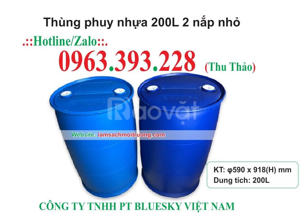 Thùng phuy nhựa 200L 2 nắp nhỏ giá rẻ
