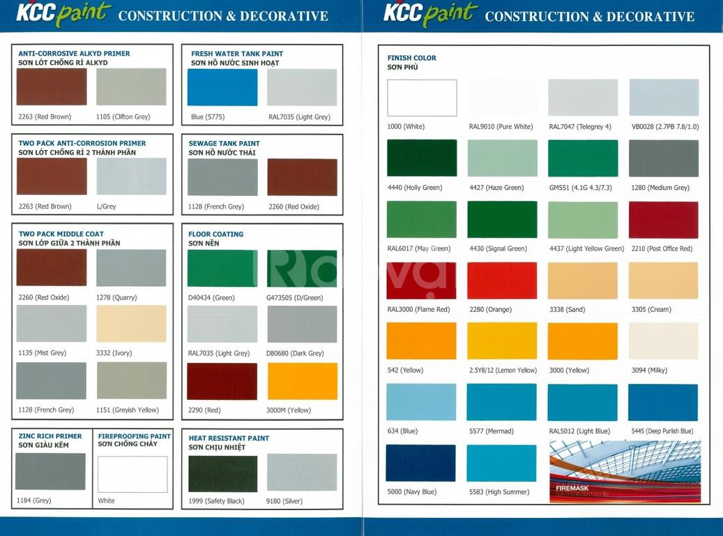 Sơn tự phẳng Epoxy kcc Hàn Quốc màu D40434 Green, D80680 Grey giá rẻ