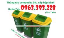Thùng rác nhựa composite 90L nắp bập bênh giá rẻ tại Hà Nội