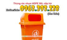 Thùng rác nhựa HDPE 90L nắp hở giá rẻ tại Hà Nội