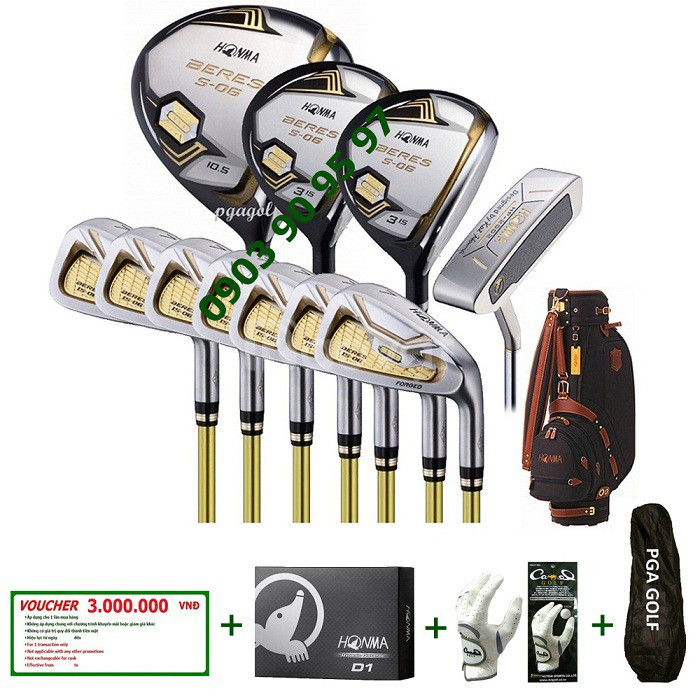 Bộ gậy golf Honma S-06 3 sao tặng voucher 3tr