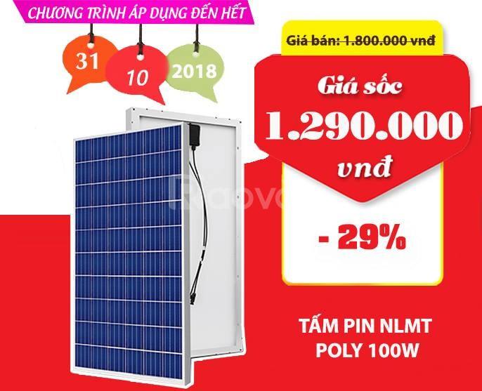 Khuyến mãi tấm pin NLMT Poly 100W chính hãng giảm giá sốc