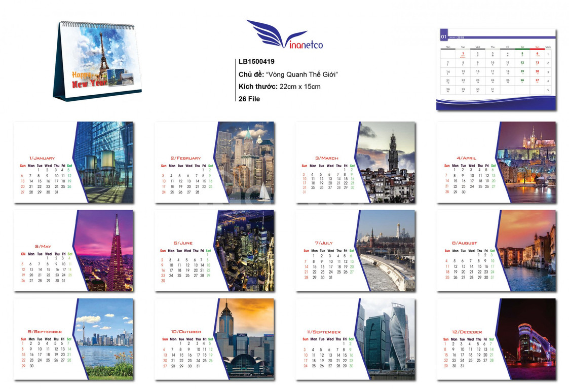 Mẫu thiết kế lịch để bàn 2019