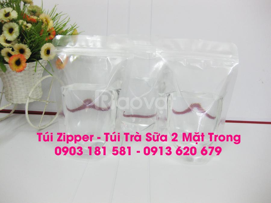 Mẫu túi zipper đáy đứng mang đi, túi zipper đựng trà sữa (ảnh 3)