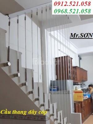 Tay vịn cầu thang bằng dây cáp dùng tăng đơ ống,tăng đơ ngang, giá rẻ.