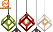 Đèn trang trí giá rẻ, đèn thả Vintag kiểu hộp vuông