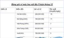 Bảng giá vé máy bay tháng 12 hãng Viejet