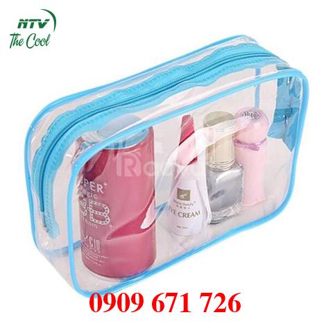Cơ sở may túi nhựa đựng mỹ phẩm, túi nhựa dẻo pvc trong suốt