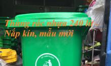 Thùng rác nhựa 240 lít mẫu mới nắp kín xanh