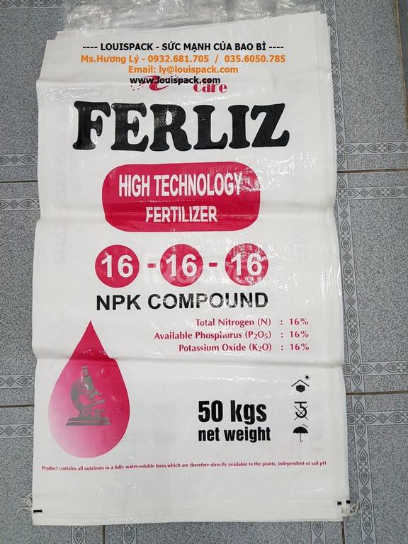 Bao PP đựng phân bón NPK 16.16.16, 50kg