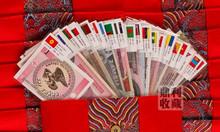 Bộ tiền 28 nước 52 tờ có túi gấm