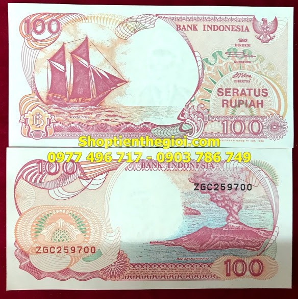 Tiền thuận buồm xuôi gió mệnh giá 100 Rupiah Indonesia