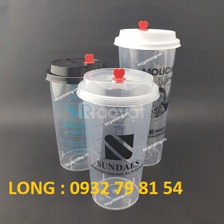 Ly nhựa cứng nắp tim, in logo ly nhựa nắp tim cao cấp