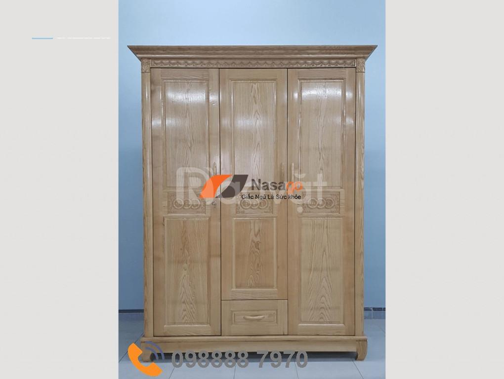 Tủ áo gỗ sồi tự nhiên 3 cánh