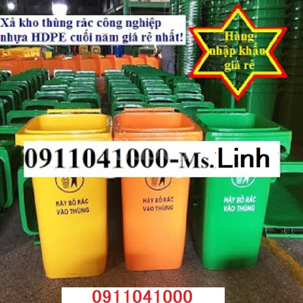 Thùng rác công cộng 120L, 240L nắp đậy kín giá mềm toàn quốc