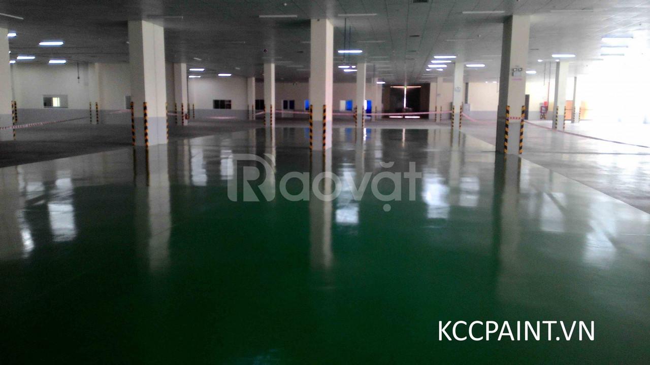 Sơn Epoxy kcc dành cho sàn nhà xưởng, sơn phủ bóng nền dành cho sàn gỗ