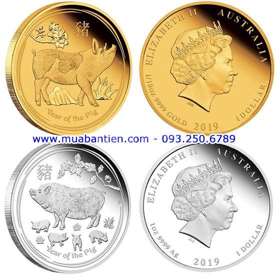 Cặp tiền xu con heo mạ vàng mạ bạc của Úc 2019