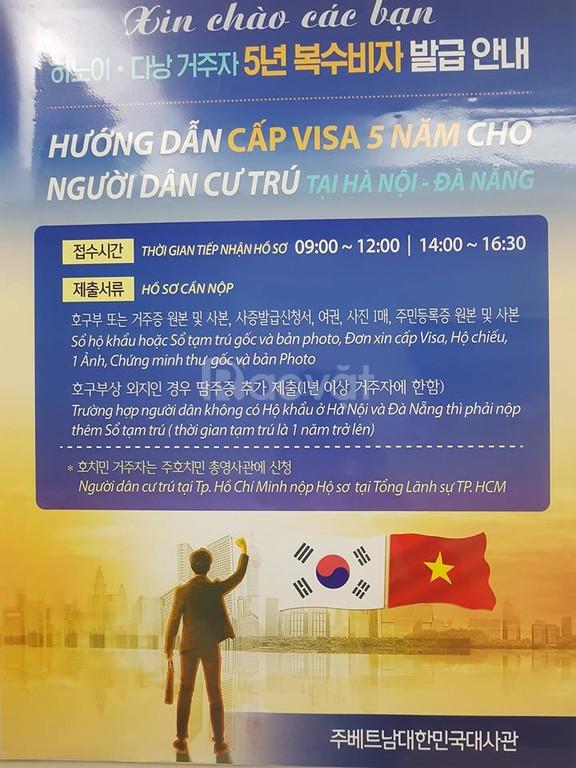 Làm visa đi Hàn Quốc 5 năm nhiều lần