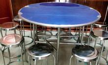 Bộ bàn ăn inox, bàn ghế inox nhà ăn, bàn ăn inox giá rẻ