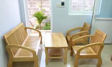 Thanh lý bộ bàn ghế salon gỗ sồi 4 món