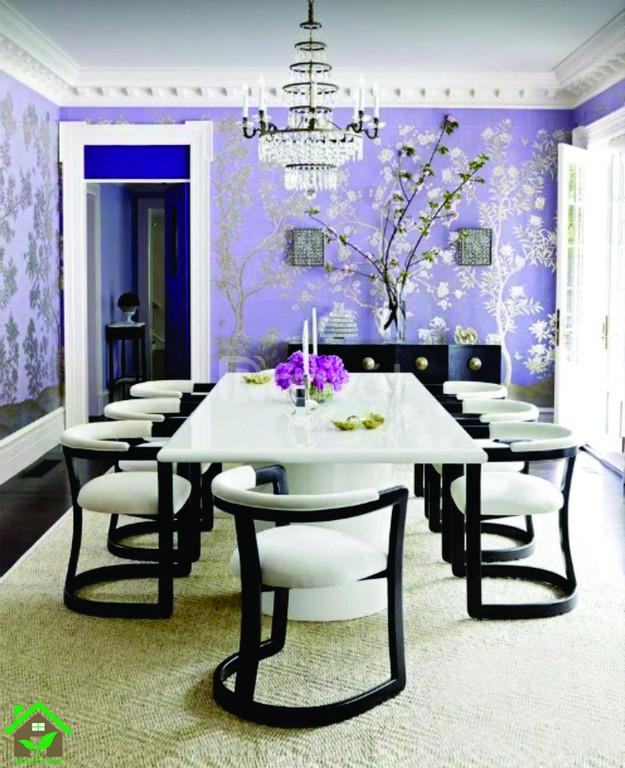 Bộ bàn ghế phòng ăn 8 ghế bọc da, mặt bàn đá tự nhiên