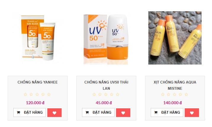 Giá bán sỉ mỹ phẩm Thái Lan kem chống nắng có giá bao nhiêu