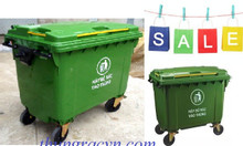 Thùng rác 660 lít màu xanh HDPE