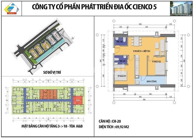 Chung cư Thanh Hà HH03 căn 1816 view hồ giá rẻ