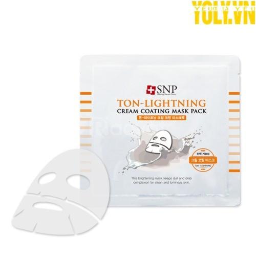 Mặt nạ phủ kem dưỡng SNP Ton Lightening Cream Coating Mask Pack
