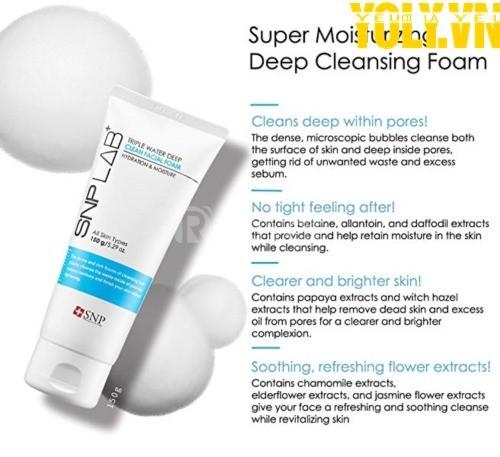 Sữa rửa mặt dưỡng ẩm SNP LAB+ Triple Water Deep Clean Facial Foam