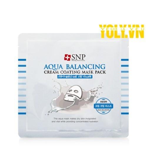 Mặt nạ phủ kem dưỡng ẩm SNP Aqua Balancing Cream Coating Mask Pack
