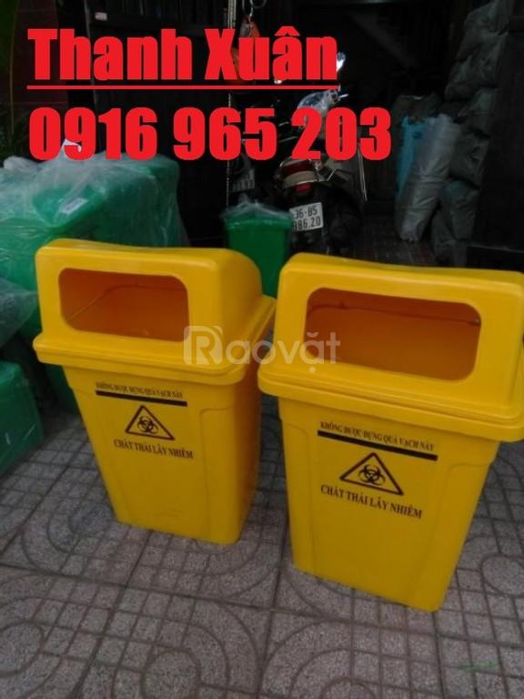 Thùng rác công cộng 95 lít, thùng rác nắp hở 95 lít màu cam vàng xanh