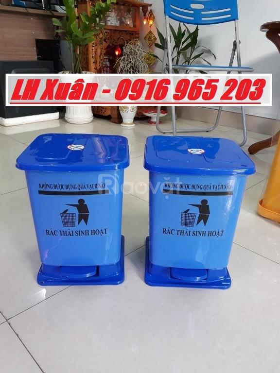 Thùng rác màu vàng 15 lít có logo, thùng rác đạp chân 15 lít vàng xanh