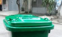 Thùng rác công cộng 60 lít màu cam vàng xanh, thùng rác bập bênh 60l