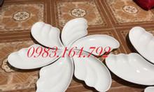 Bộ đĩa ăn hình cánh tiên 6 cánh gốm sứ Bát Tràng thanh lý