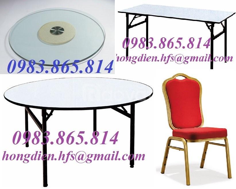Bàn tròn nhà hàng, bàn ghế nhà hàng, mặt kính bàn xoay, bàn ghế tiệc