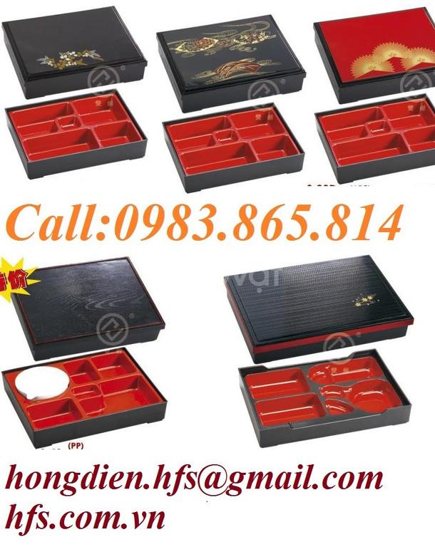 Hộp cơm bento đỏ đen, hộp cơm văn phòng, đồ dùng nhà hàng Nhật