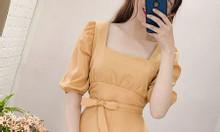 Đầm trắng cổ vuông tay bèo