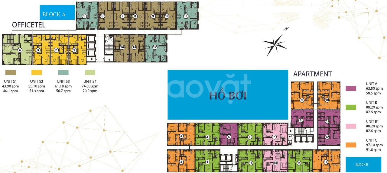 Bán gấp căn officel 1PN 1.650 tỷ, 2PN 2tỷ550, 88m2, 2.990 tỷ, căn góc