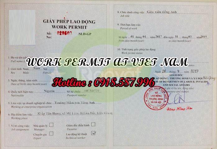 Thủ tục làm giấy phép lao động cho người nước ngoài
