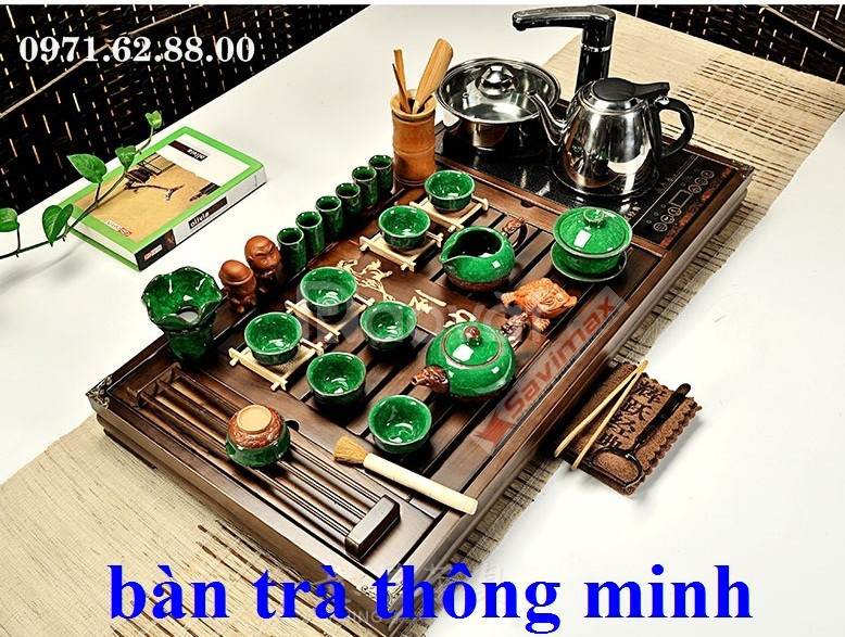 Bàn trà điện đa năng thông minh gỗ cánh gà 100%