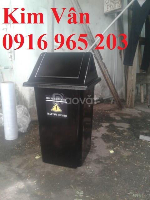 Thùng rác nắp bập bênh 60 lít, thùng rác nắp lật 60l, thùng rác 60 lít