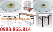 Bàn tròn mặt kính trục xoay, bàn tiệc hội nghị, bàn ghế nhà hàng