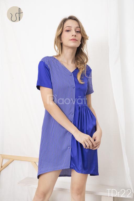 Đầm mặc nhà lụa phối màu - thương hiệu thiết kế