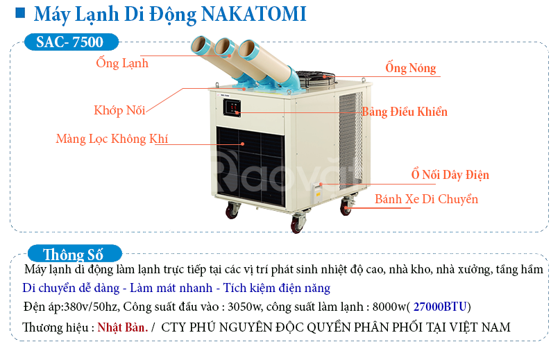 Máy lạnh di động Nakatomi chính hãng giá rẻ