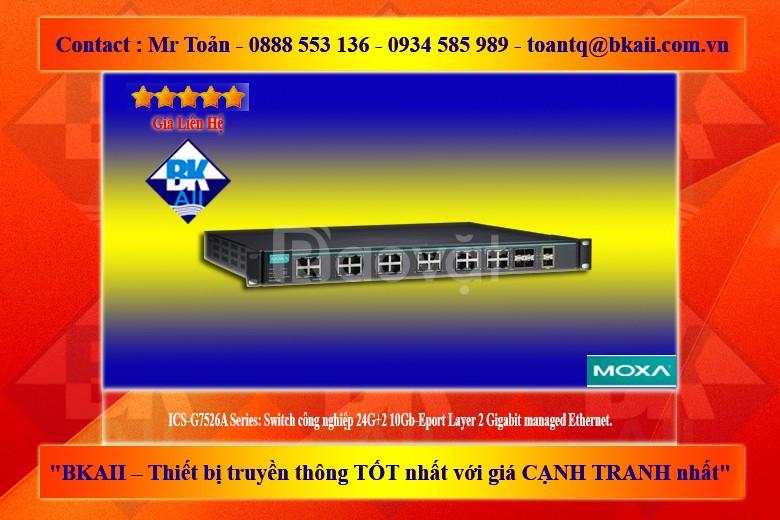 ICS-G7526A: Switch công nghiệp 24G+2 10Gb-Eport Layer 2 Gigabit
